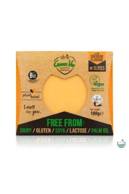 Green Vie Cheddar ízesítésű szeletelt növényi sajthelyettesítő 180 g