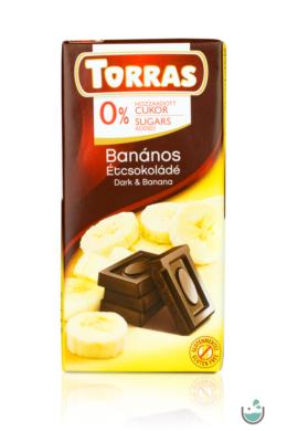 Torras banános étcsokoládé hozzáadott cukor nélkül (gluténmentes) 75 g