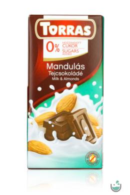 Torras mandulás tejcsokoládé hozzáadott cukor nélkül (gluténmentes) 75 g