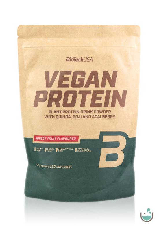 BioTech USA erdei gyümölcsös ízű vegán fehérjepor 500 g – Natur Reform