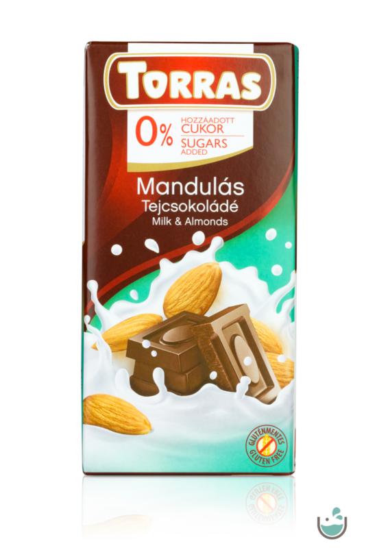 Torras mandulás tejcsokoládé hozzáadott cukor nélkül 75 g – Natur Reform